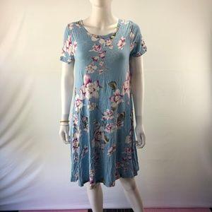 Midi Dress O-Neck Pocket Short Sleeve Casual